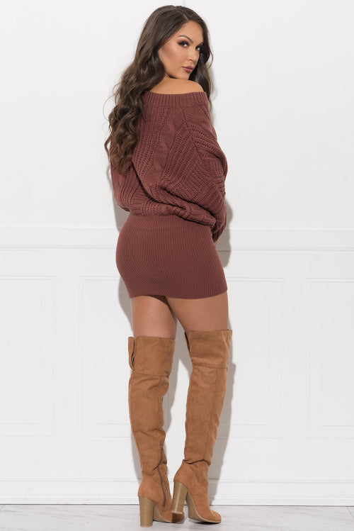 Cidnee Sweater Dress - Red Bean