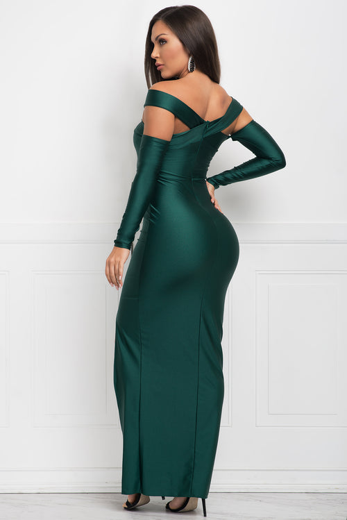 Reagan Satin Dress - Green