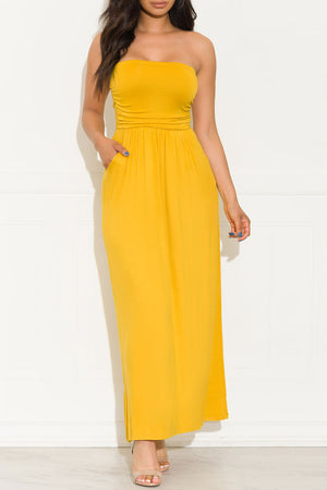 Here To Stay Maxi Dress Yellow