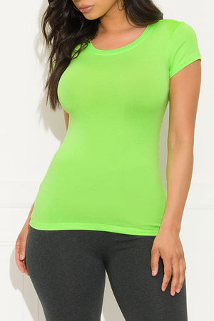 Venus Short Sleeve Top  Neon Green