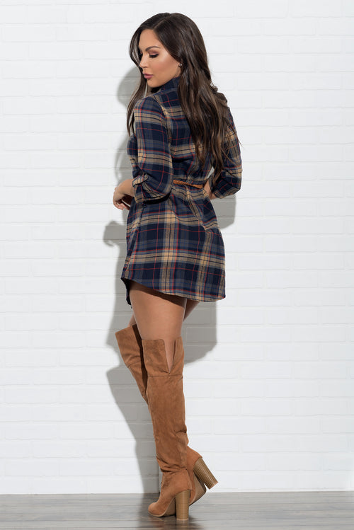 Nicole Plaid Dress - Navy & Beige