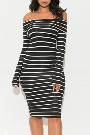 Starting Over Striped Dress Black
