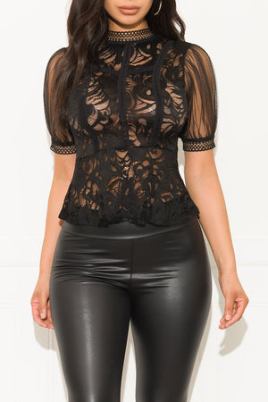 Cold Hearted Lace Blouse Black