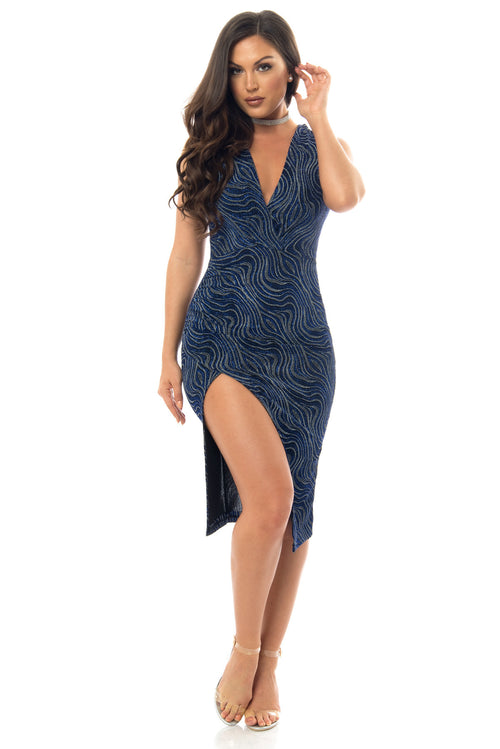 Keiry Navy Blue Dress - Fashion Effect Store  - 1