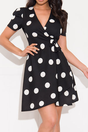 As Promised Polka Dot Dress Black