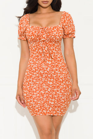 Key To Your Heart Floral Dress Rust