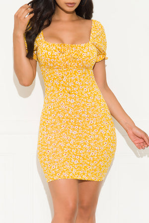 Key To Your Heart Floral Dress Yellow
