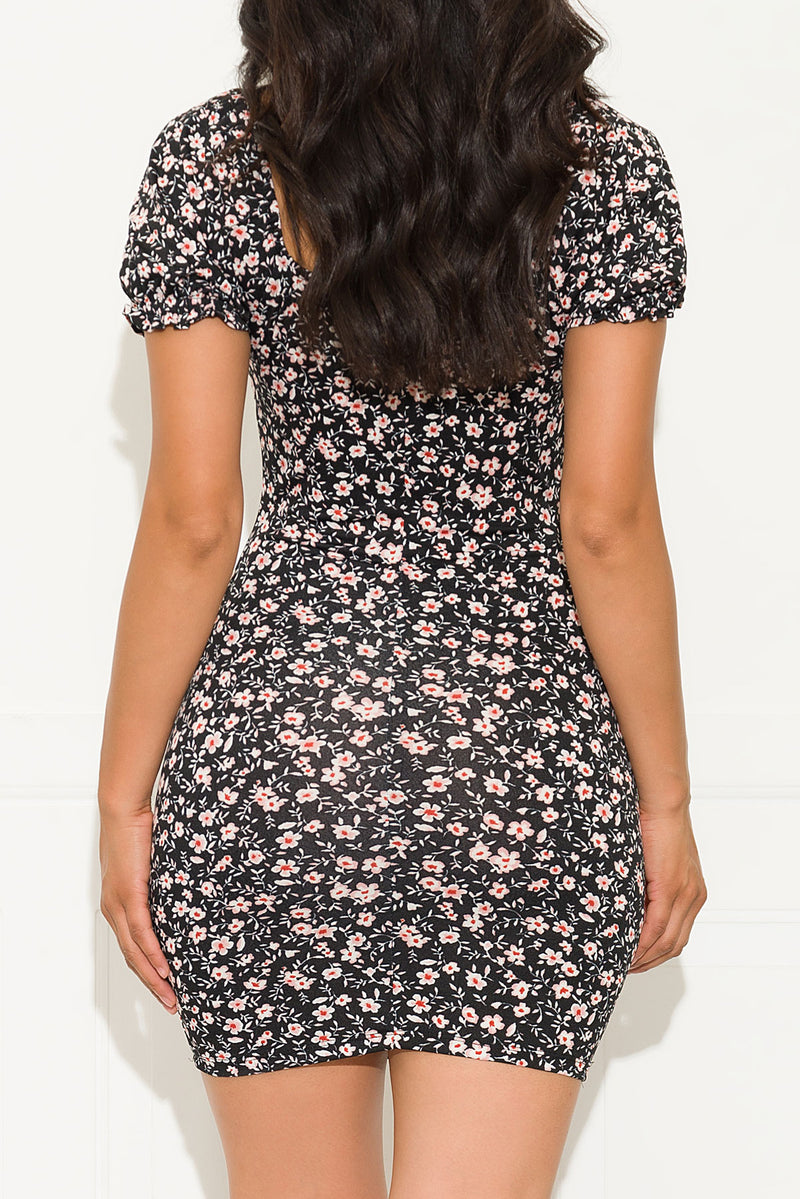 Key To Your Heart Floral Dress Black