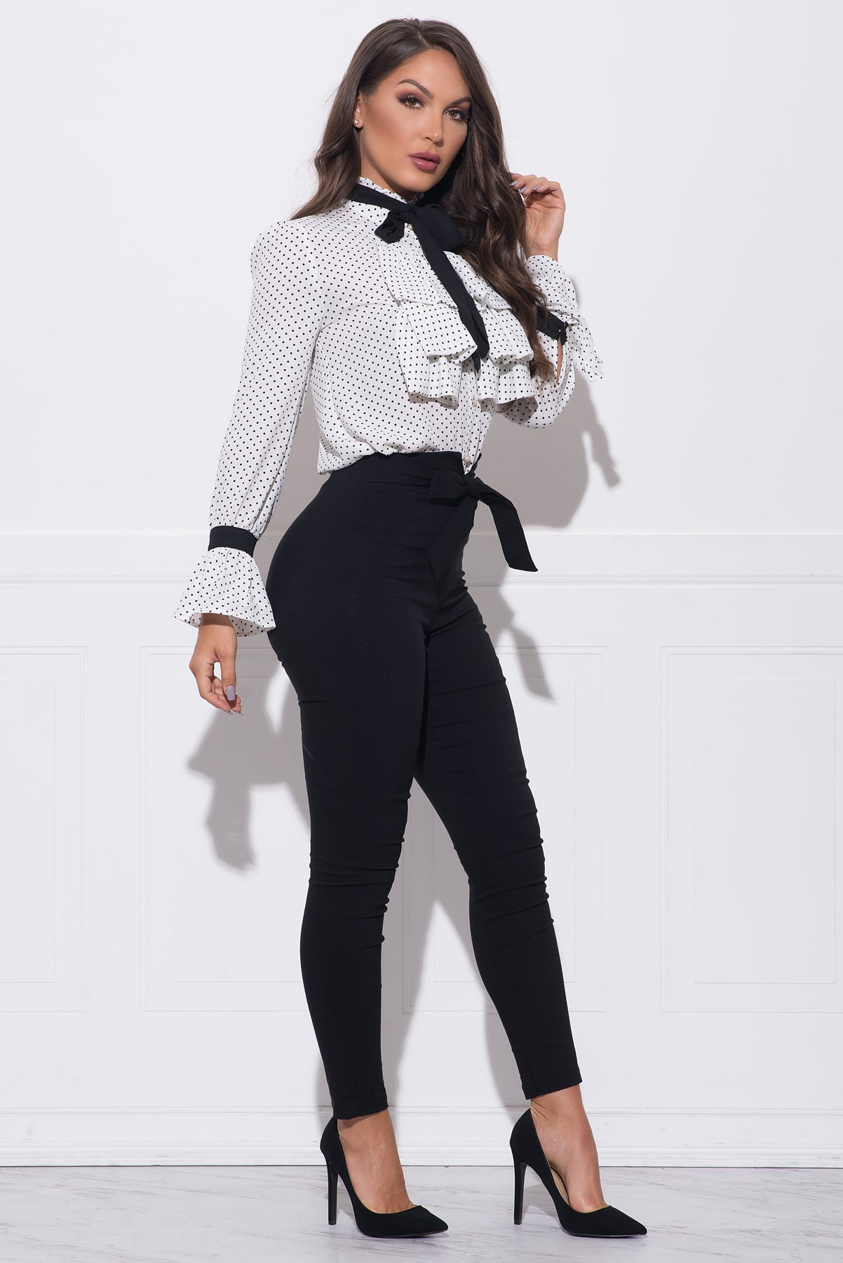 Tasha Polka Dot Blouse - White/black