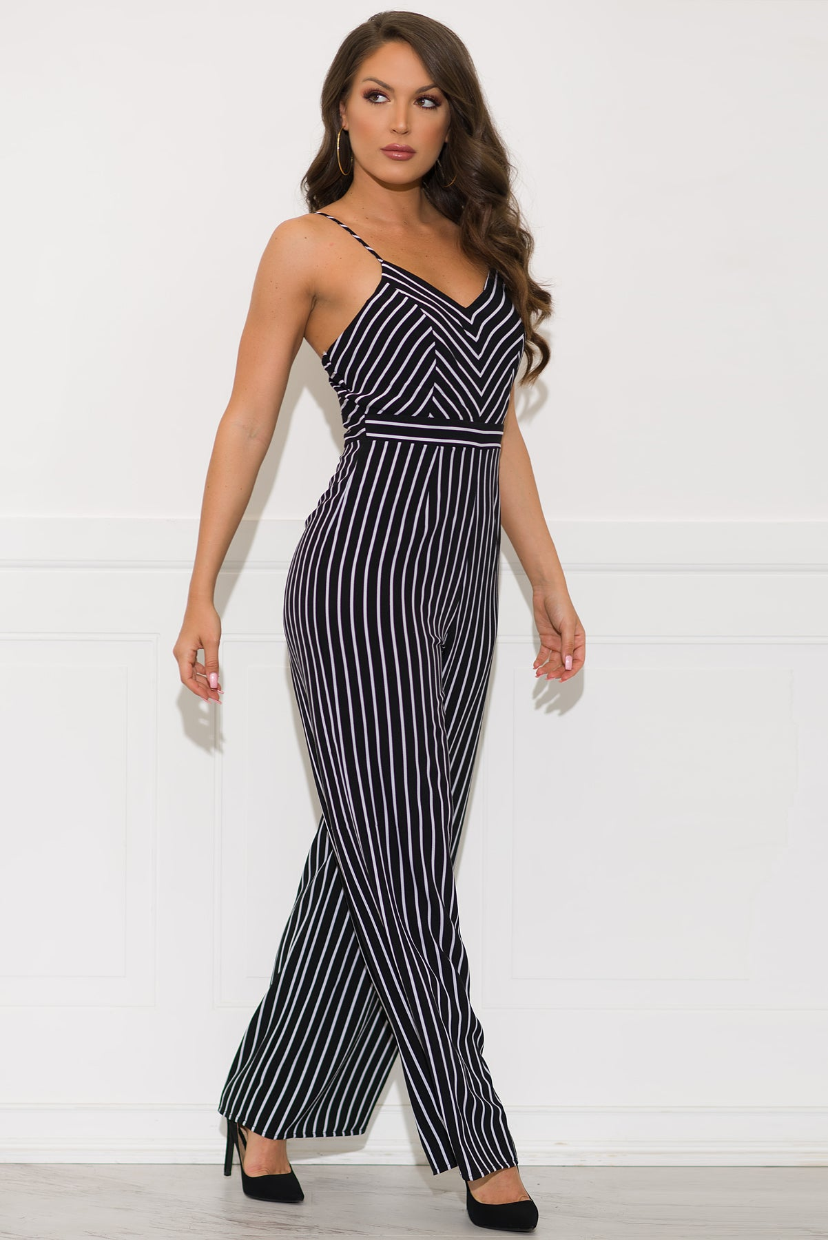 Tay Striped Jumpsuit-Black