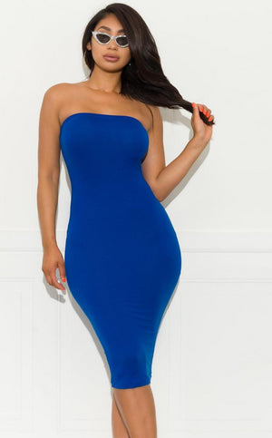 Make It Right Strapless  Dress - Royal Blue