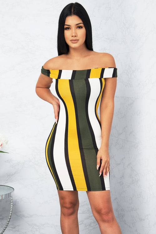 Dakota Striped Dress - Mustard