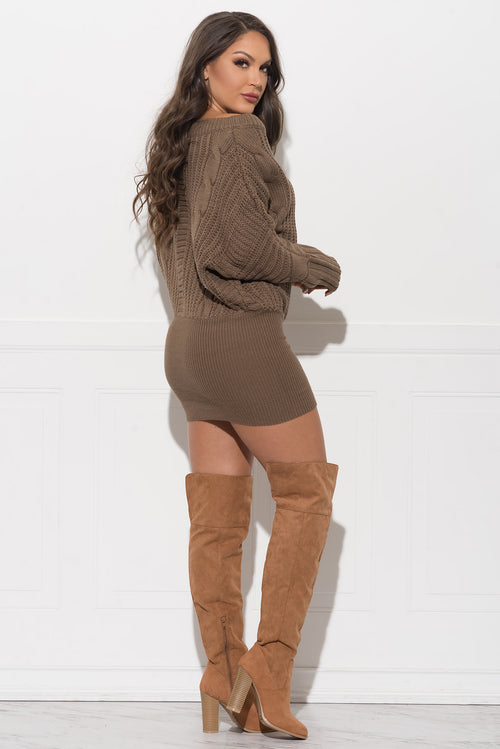 Cidnee Sweater Dress - Mocha