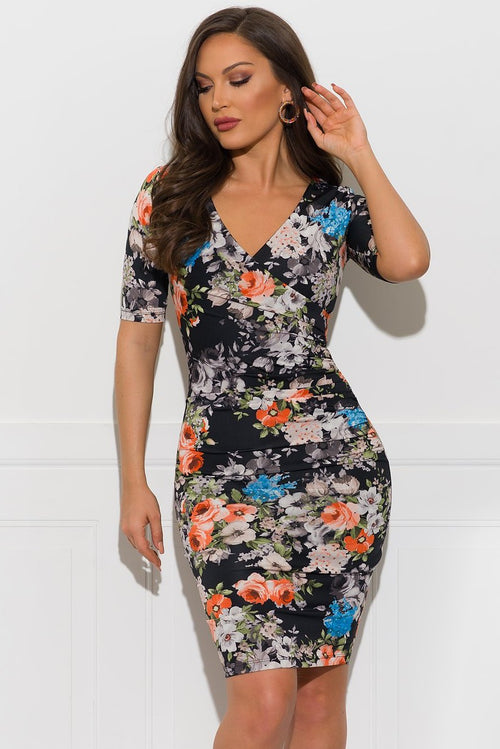 Beverly Floral Dress - Black