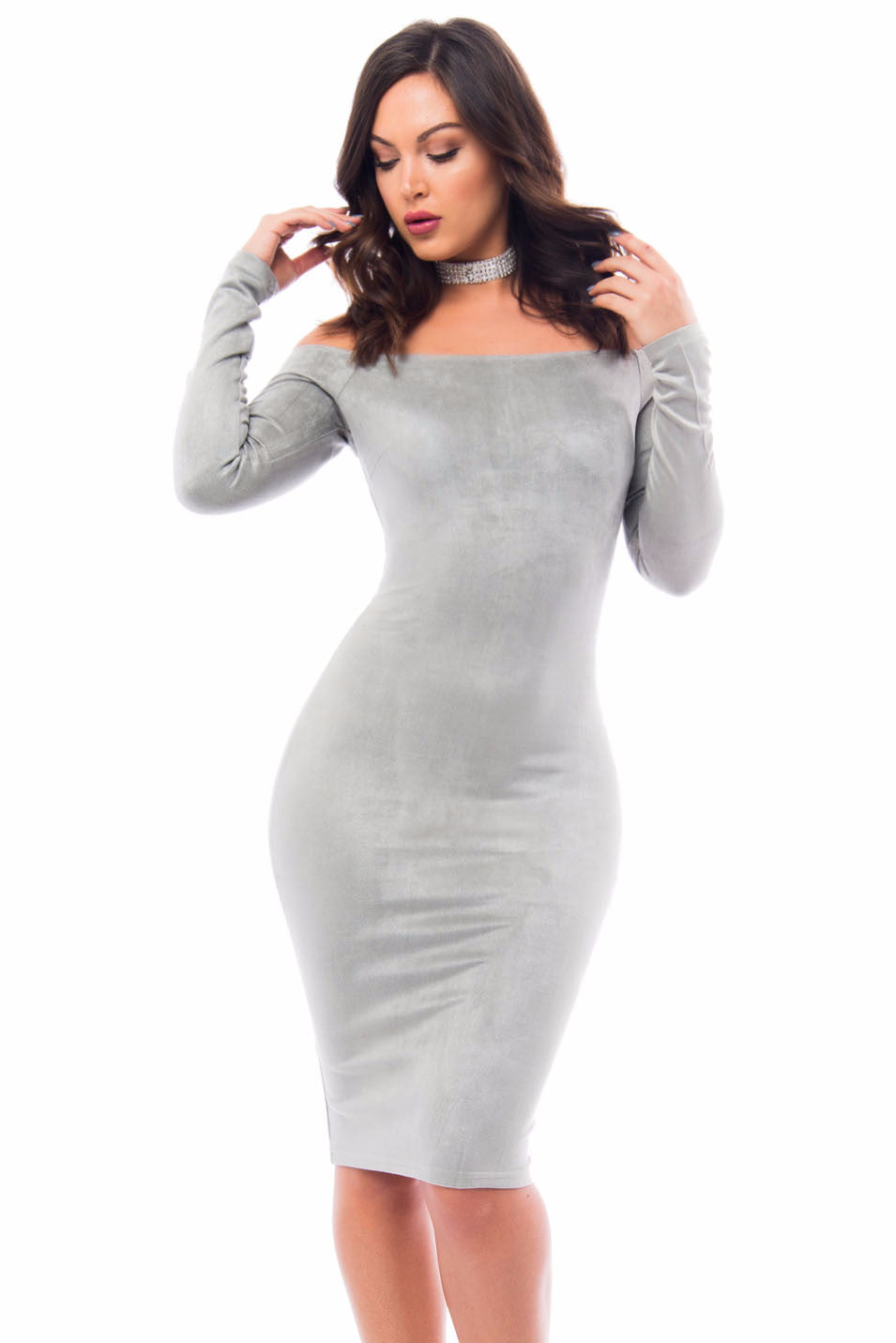 Silver Lining Suede Dress - Fashion Effect Store  - 1