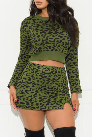 The Best Part Of Me Two Piece Set Cheetah Olive