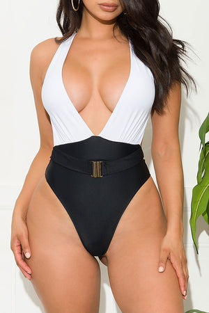 Venus Beach One Piece Swimsuit Black And White
