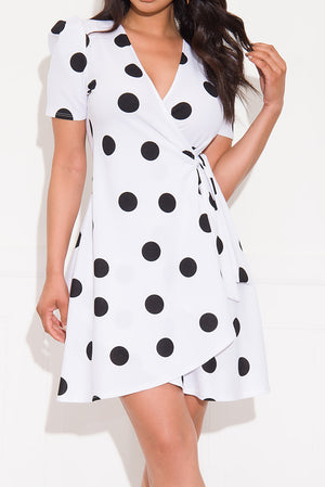 As Promised Polka Dot Dress White