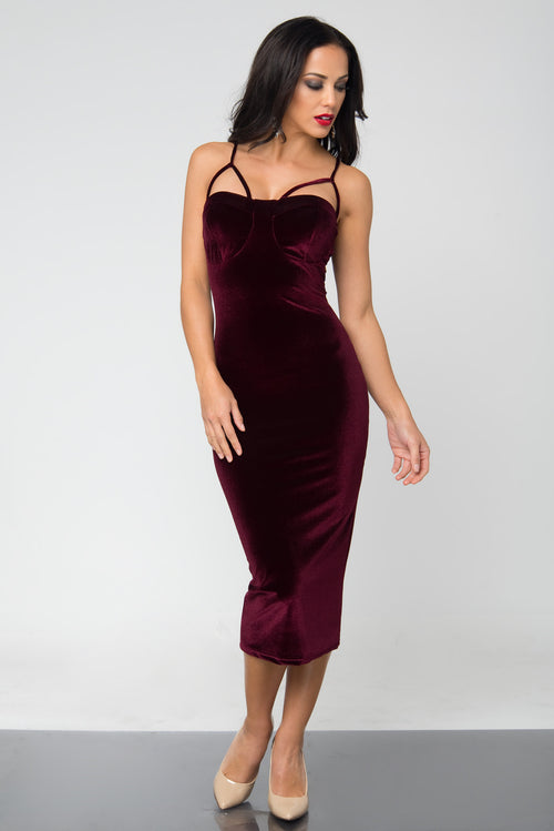 Lenna Burgundy Velvet Dress - Fashion Effect Store  - 2