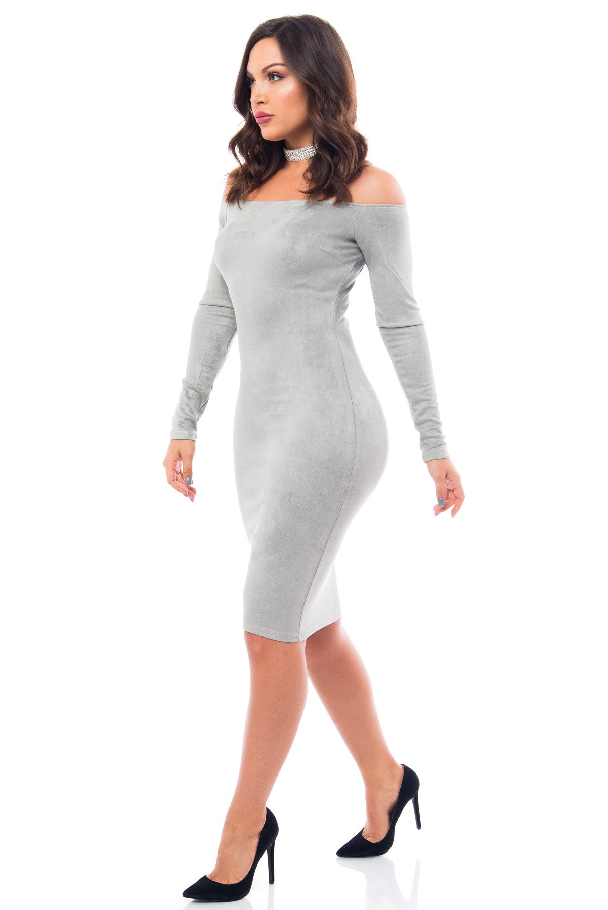 Silver Lining Suede Dress - Fashion Effect Store  - 3
