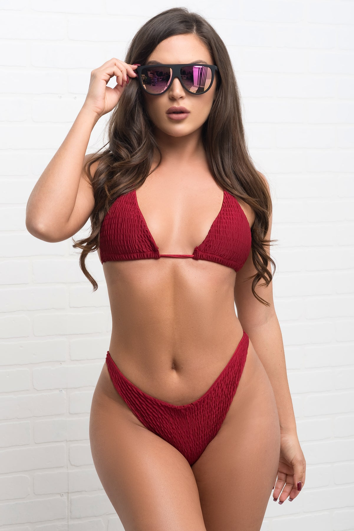 Sunny Shore Two Piece Swimsuit - Burgundy