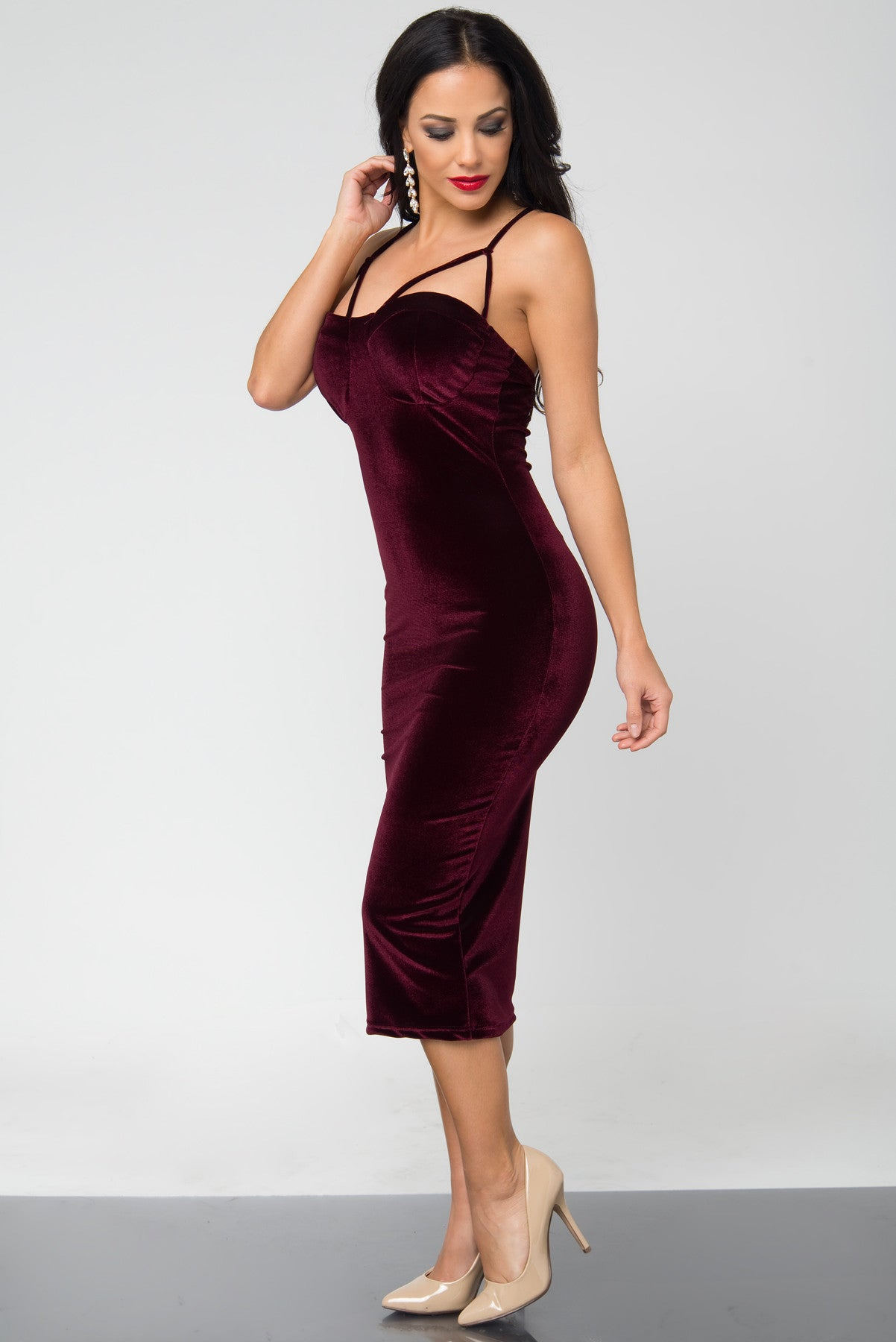Lenna Burgundy Velvet Dress - Fashion Effect Store  - 3