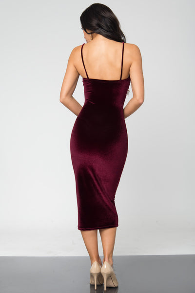 Lenna Burgundy Velvet Dress - Fashion Effect Store  - 4