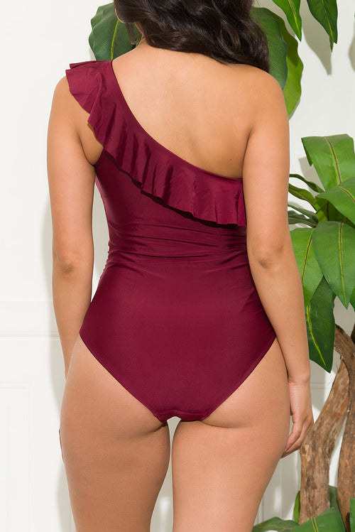 Grand Anse Beach One Piece Swimsuit Wine