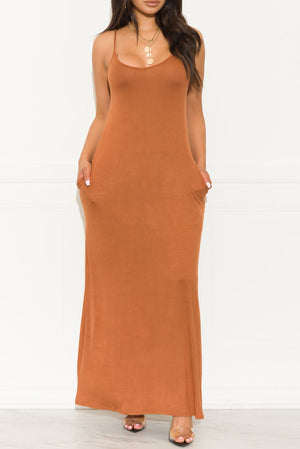 Settle Down Maxi Dress Cinnamon