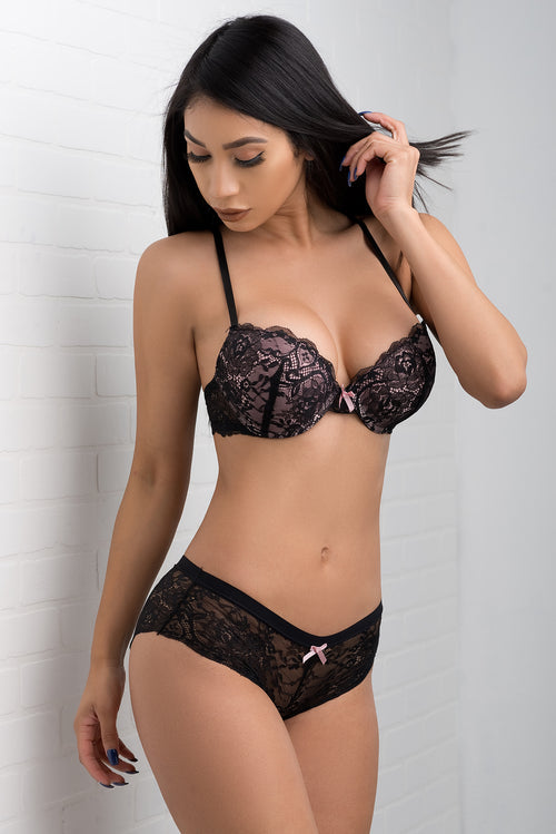 Daring Push Up Lace Bra - Black