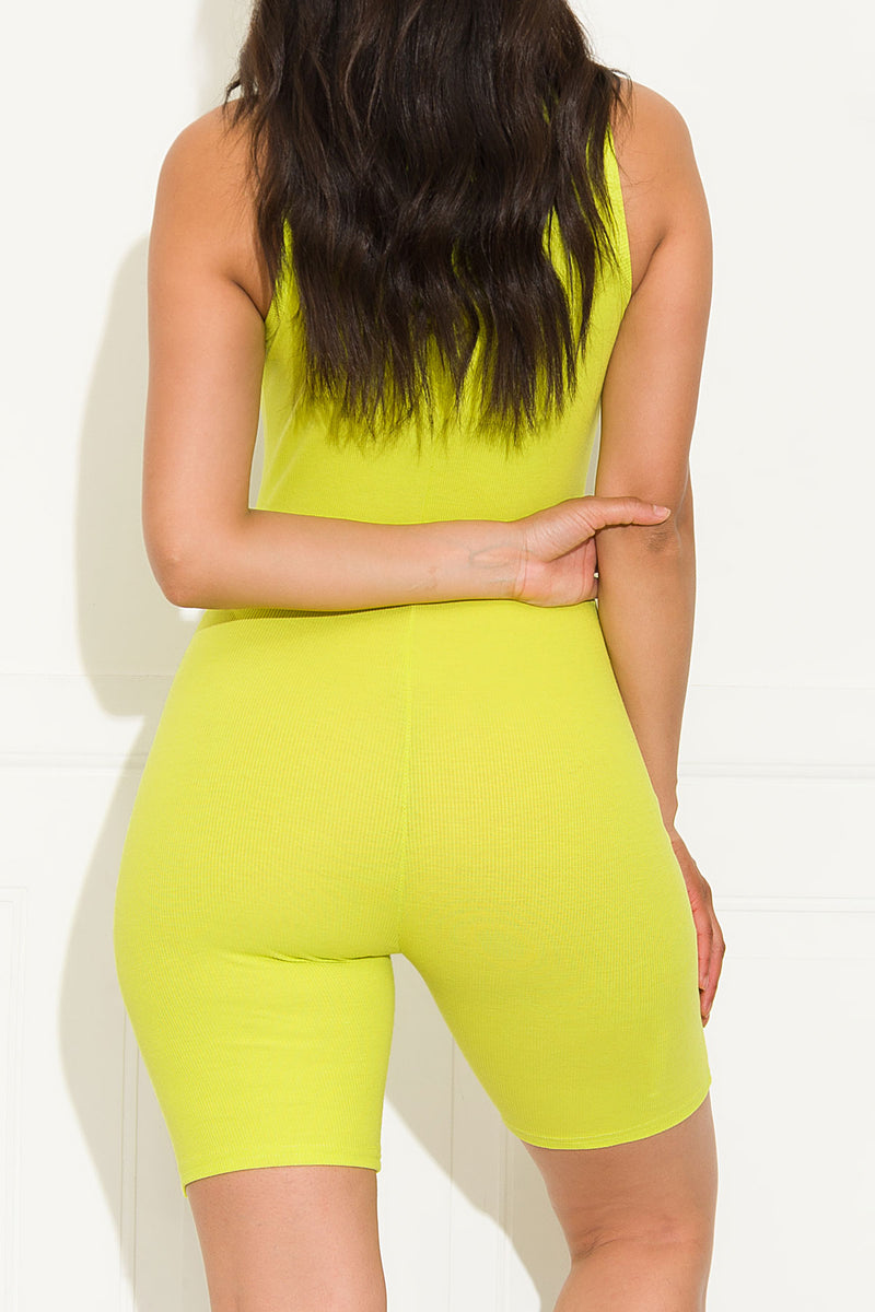 Keep it simple Romper Neon Green