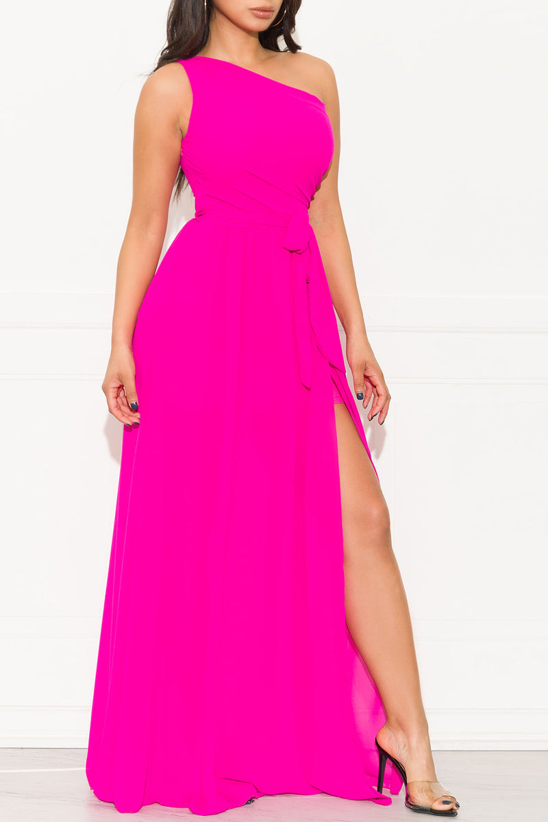 High Hopes Maxi Gown Dress Hot Pink