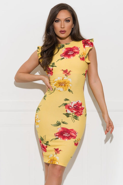Fiona Floral Dress - Yellow