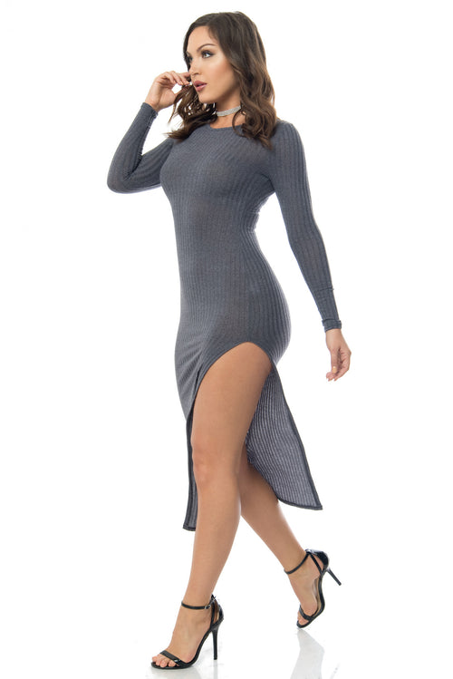 Eve Charcoal Gray Dress - Fashion Effect Store  - 1