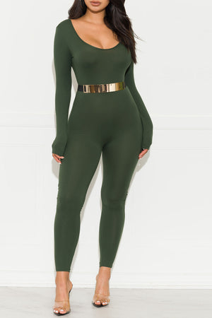 Keeping Track Jumpsuit  Olive