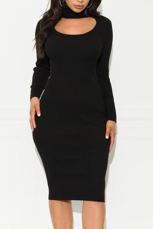 Slow Down Midi Dress Black