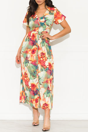 Blossom Dream Maxi Dress Rust Green