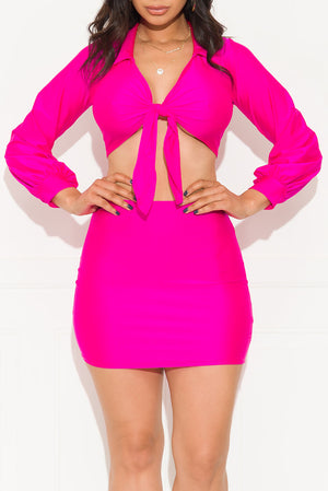 Tell Me About You Two Piece Set Hot Pink