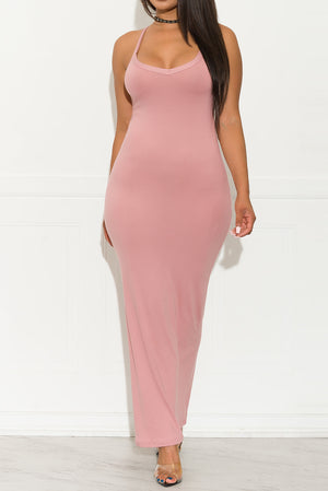 Not So Basic Maxi Dress Dusty Pink
