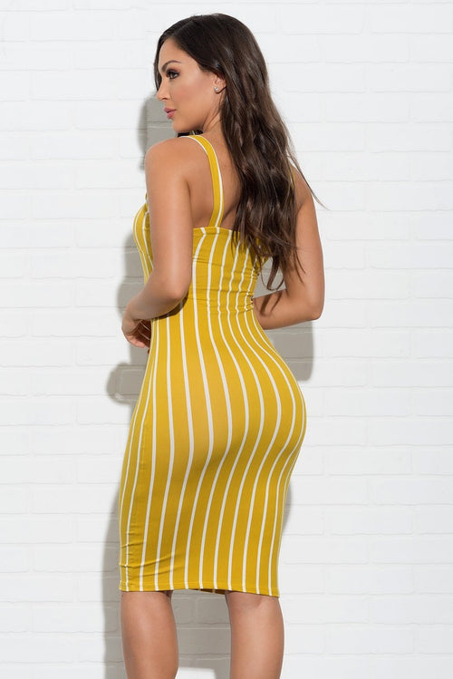 Bella Striped Dress - Yellow
