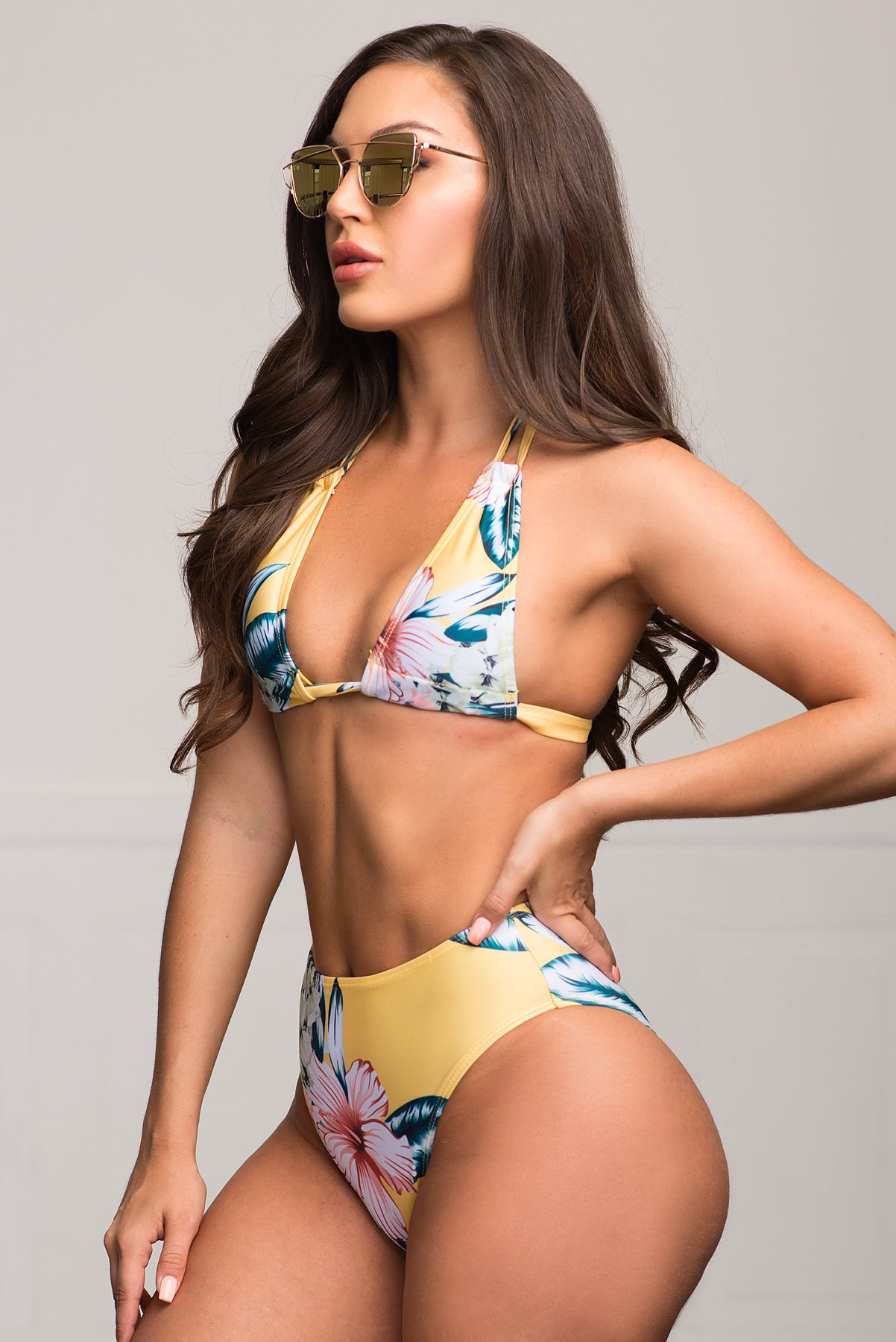 Tayrona Beach Two Piece Swimsuit Floral - Yellow