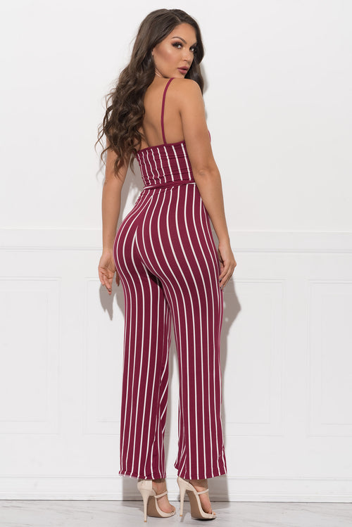 ANNIE STRIPED JUMPSUIT - Burgundy