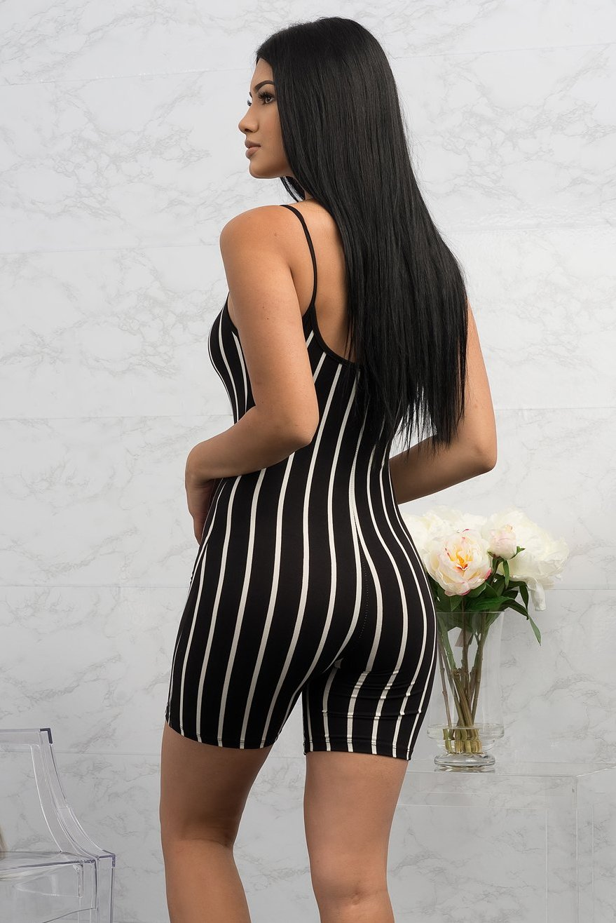 Janiris Striped Romper - Black