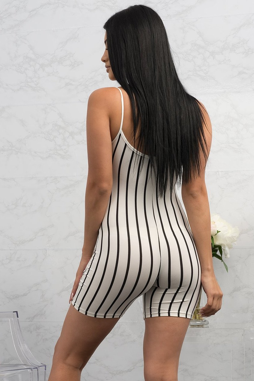 Janiris Striped Romper - Off White