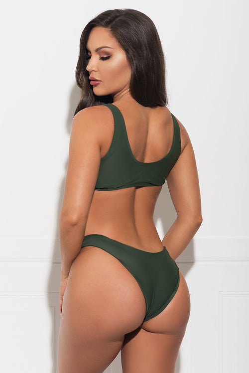 Mermaid Point Two Piece Swimsuit - Army Green