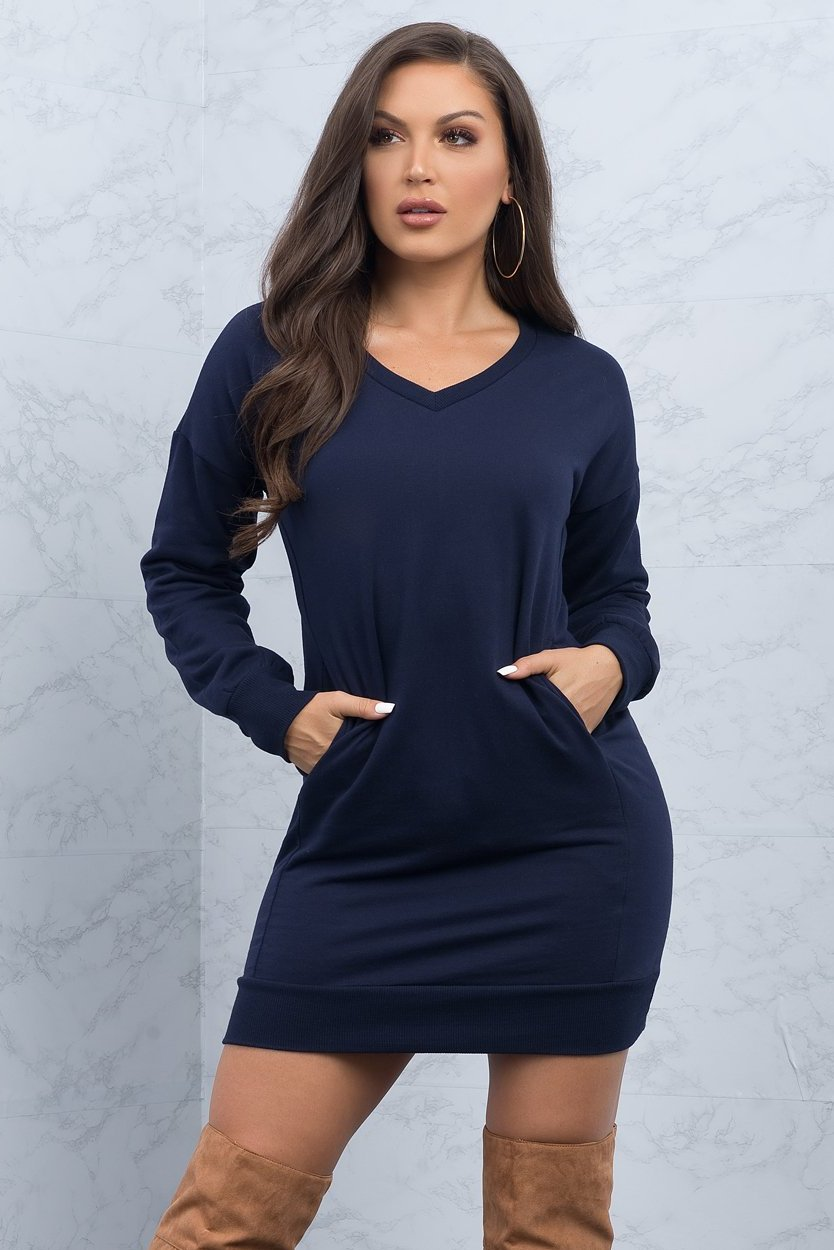 Miranda Sweater Dress - Navy