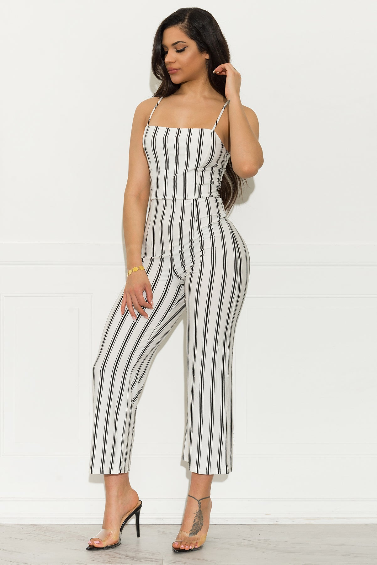 Nathalie Striped Jumpsuit - White