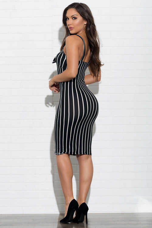 Bella Striped Dress - Black