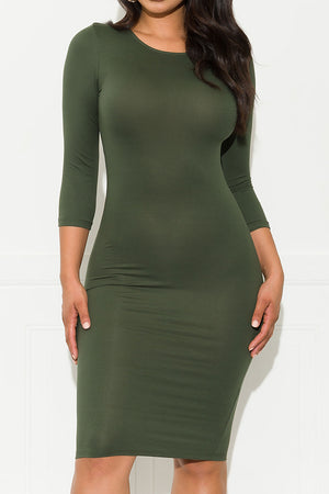 Moments To Remember Dress Olive