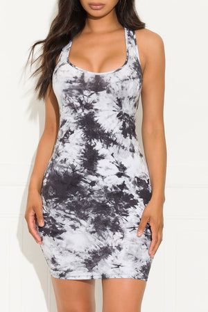 Find Your Way Tie Dye Dress Black And White